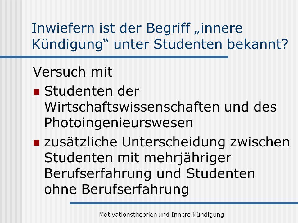 """Inwiefern ist der Begriff """"innere Kündigung unter Studenten bekannt"""