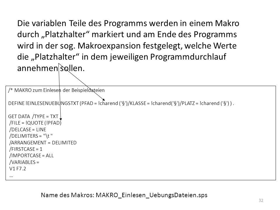 """Die variablen Teile des Programms werden in einem Makro durch """"Platzhalter markiert und am Ende des Programms wird in der sog. Makroexpansion festgelegt, welche Werte die """"Platzhalter in dem jeweiligen Programmdurchlauf annehmen sollen."""