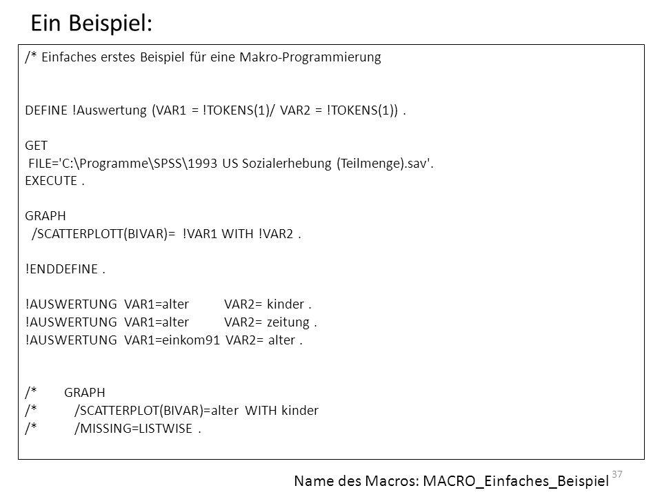 Ein Beispiel: Name des Macros: MACRO_Einfaches_Beispiel