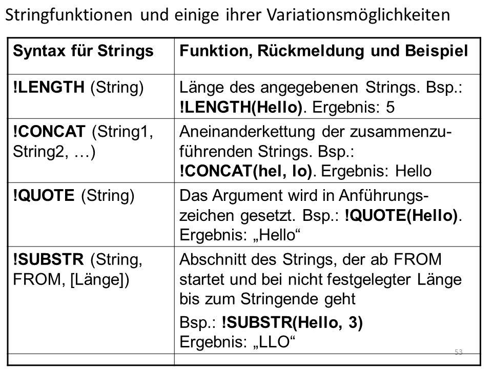 Stringfunktionen und einige ihrer Variationsmöglichkeiten