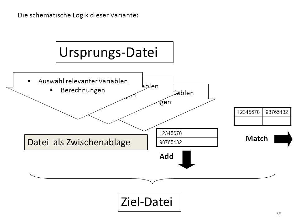 Ursprungs-Datei Ziel-Datei Datei als Zwischenablage Match Add