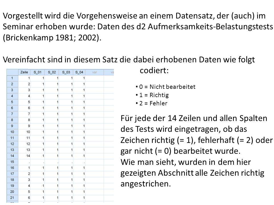 Vorgestellt wird die Vorgehensweise an einem Datensatz, der (auch) im Seminar erhoben wurde: Daten des d2 Aufmerksamkeits-Belastungstests (Brickenkamp 1981; 2002).