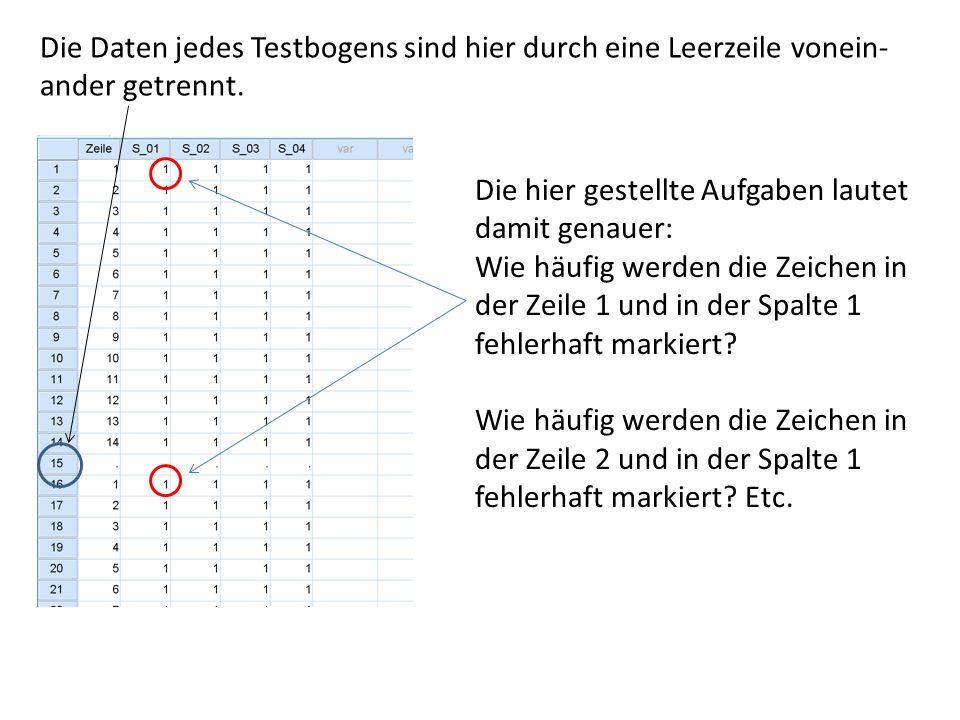 Die Daten jedes Testbogens sind hier durch eine Leerzeile vonein- ander getrennt.