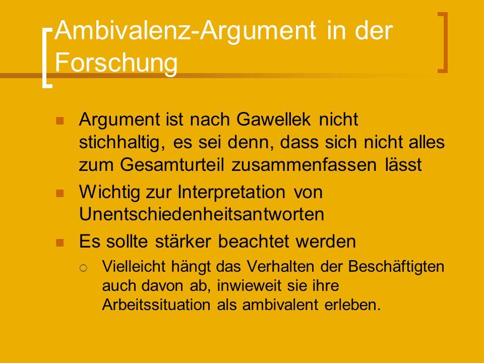 Ambivalenz-Argument in der Forschung
