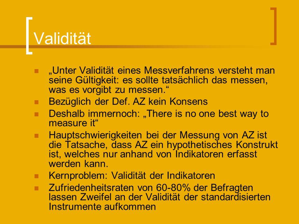 """Validität """"Unter Validität eines Messverfahrens versteht man seine Gültigkeit: es sollte tatsächlich das messen, was es vorgibt zu messen."""