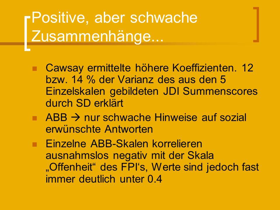 Positive, aber schwache Zusammenhänge...