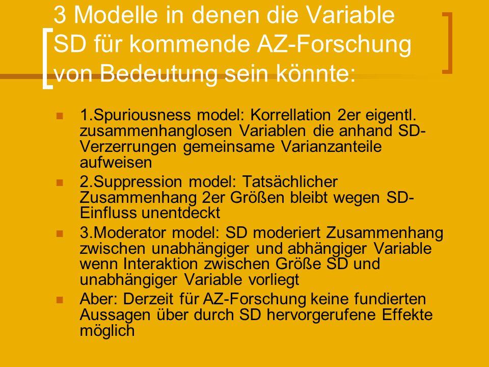 3 Modelle in denen die Variable SD für kommende AZ-Forschung von Bedeutung sein könnte: