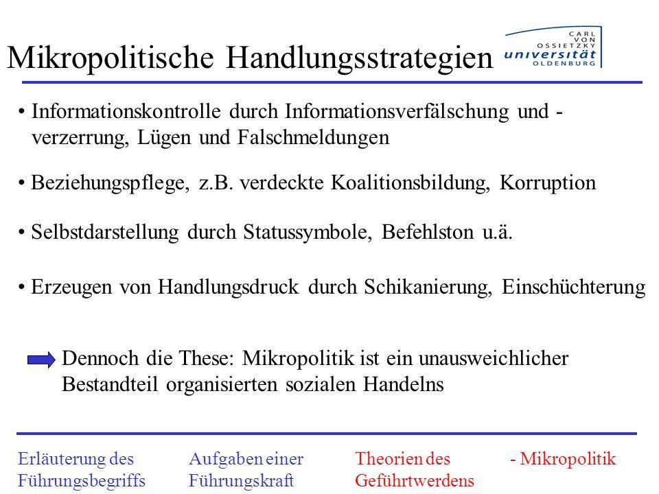 Mikropolitische Handlungsstrategien