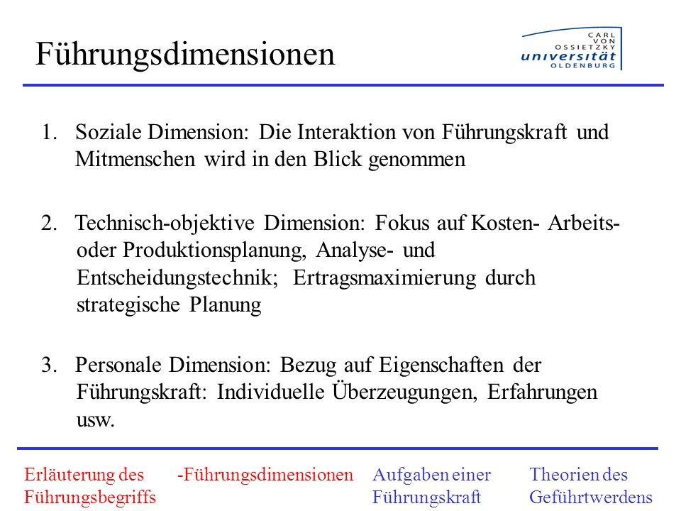 Führungsdimensionen Soziale Dimension: Die Interaktion von Führungskraft und Mitmenschen wird in den Blick genommen.