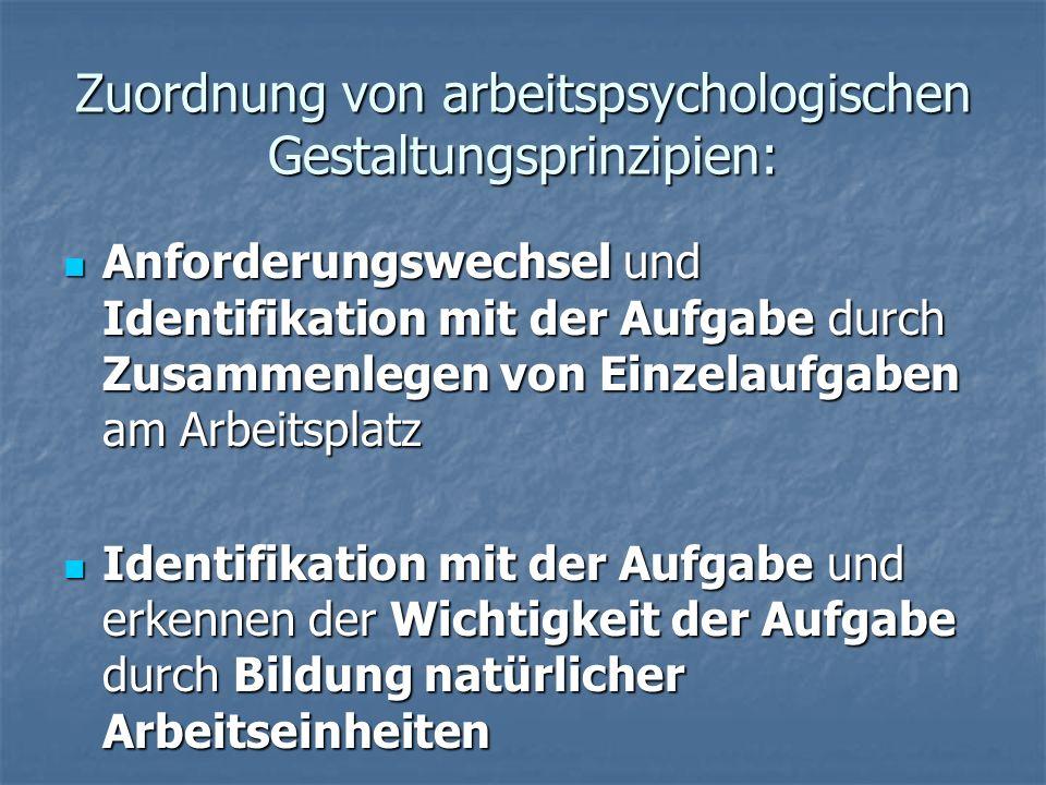 Zuordnung von arbeitspsychologischen Gestaltungsprinzipien: