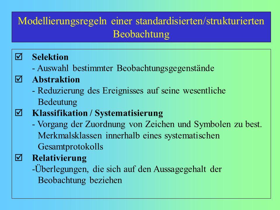 Modellierungsregeln einer standardisierten/strukturierten Beobachtung