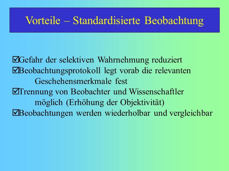 Vorteile – Standardisierte Beobachtung