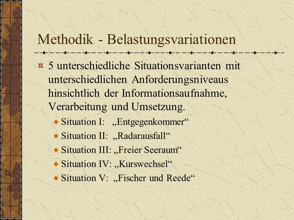 Methodik - Belastungsvariationen