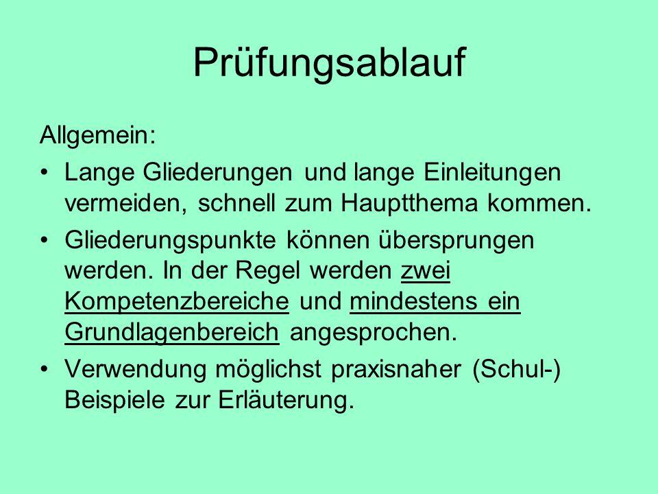 Prüfungsablauf Allgemein: