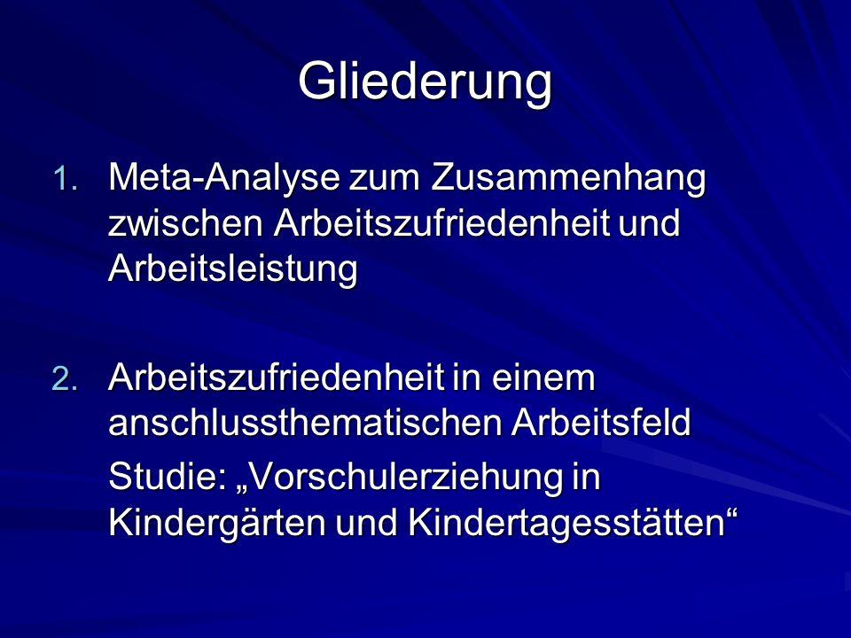 Gliederung Meta-Analyse zum Zusammenhang zwischen Arbeitszufriedenheit und Arbeitsleistung.