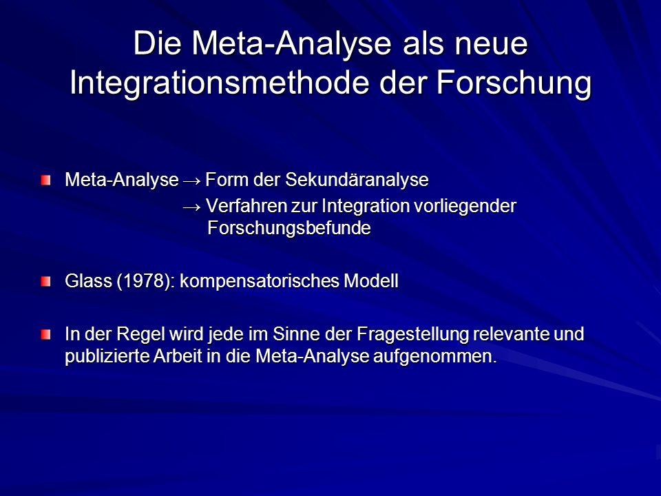 Die Meta-Analyse als neue Integrationsmethode der Forschung