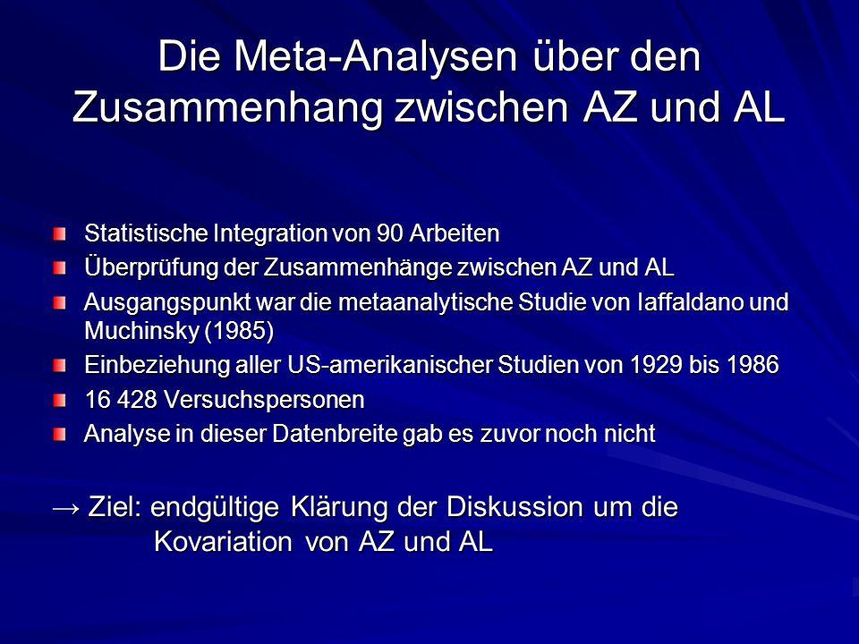 Die Meta-Analysen über den Zusammenhang zwischen AZ und AL
