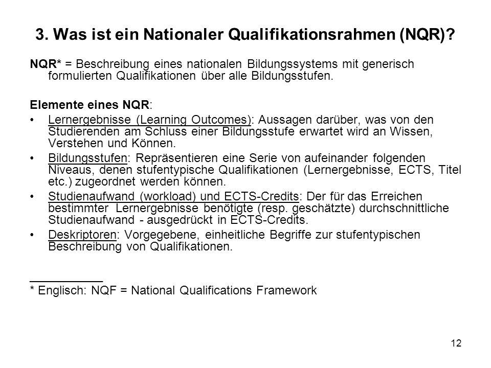 3. Was ist ein Nationaler Qualifikationsrahmen (NQR)
