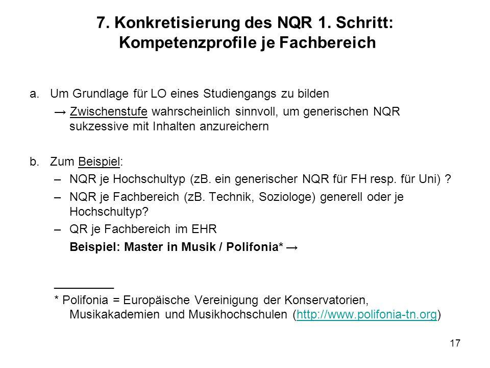 7. Konkretisierung des NQR 1. Schritt: Kompetenzprofile je Fachbereich