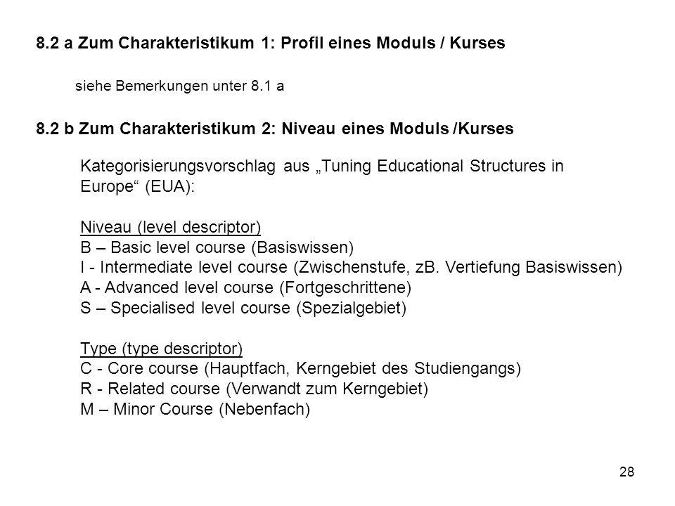 8.2 a Zum Charakteristikum 1: Profil eines Moduls / Kurses