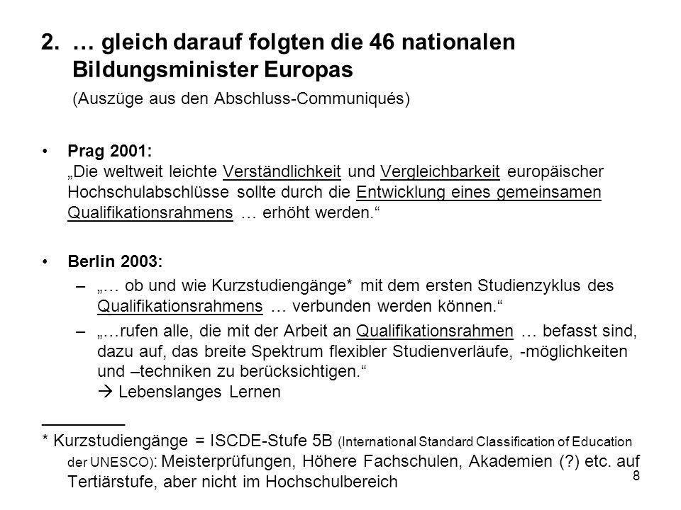 2. … gleich darauf folgten die 46 nationalen Bildungsminister Europas (Auszüge aus den Abschluss-Communiqués)