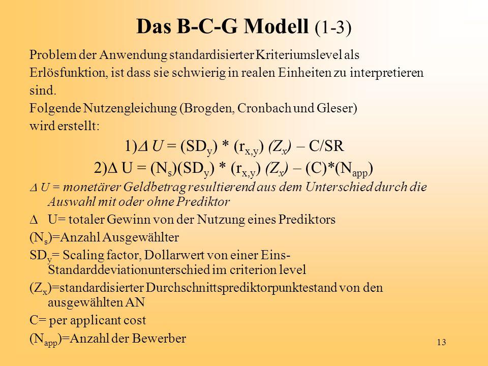 Das B-C-G Modell (1-3) 1) U = (SDy) * (rx,y) (Zx) – C/SR