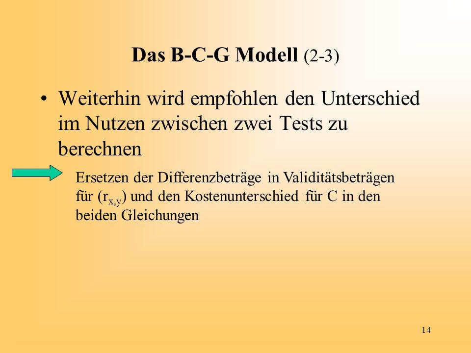 Das B-C-G Modell (2-3) Weiterhin wird empfohlen den Unterschied im Nutzen zwischen zwei Tests zu berechnen.