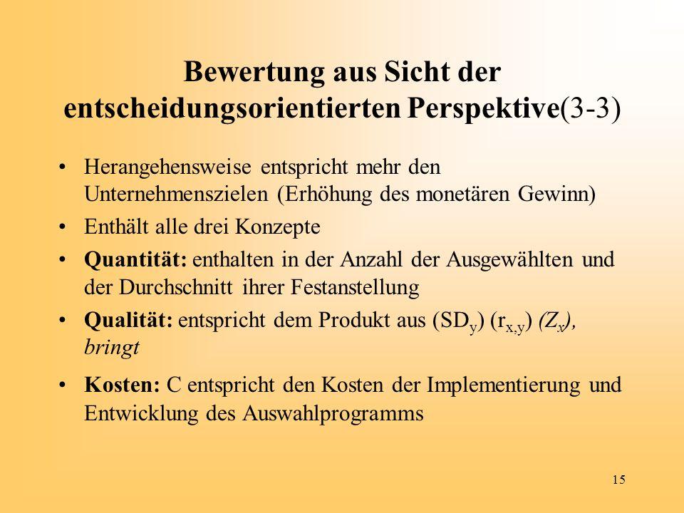 Bewertung aus Sicht der entscheidungsorientierten Perspektive(3-3)