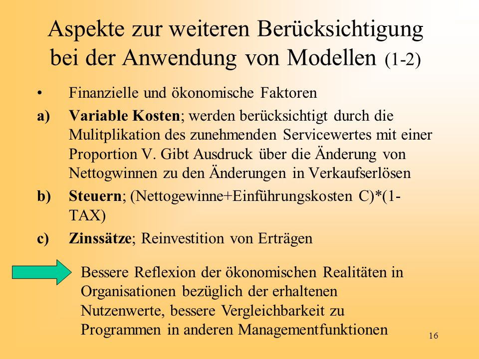 Aspekte zur weiteren Berücksichtigung bei der Anwendung von Modellen (1-2)