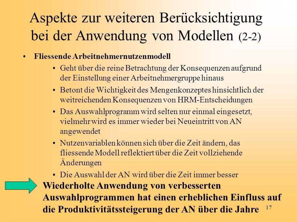 Aspekte zur weiteren Berücksichtigung bei der Anwendung von Modellen (2-2)