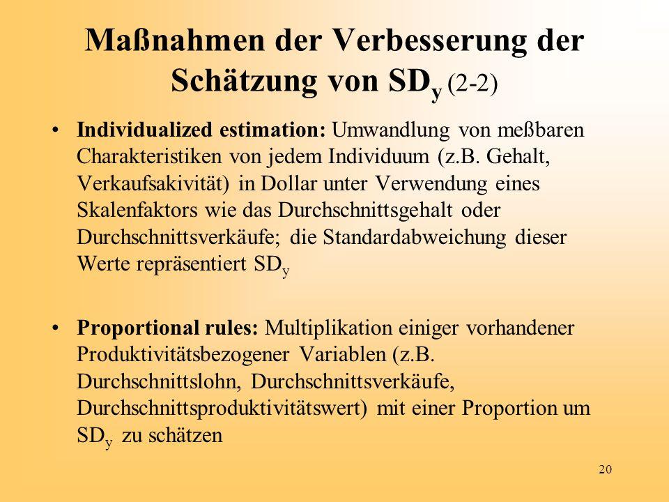 Maßnahmen der Verbesserung der Schätzung von SDy (2-2)