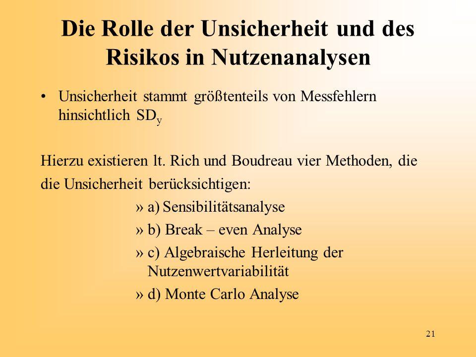 Die Rolle der Unsicherheit und des Risikos in Nutzenanalysen