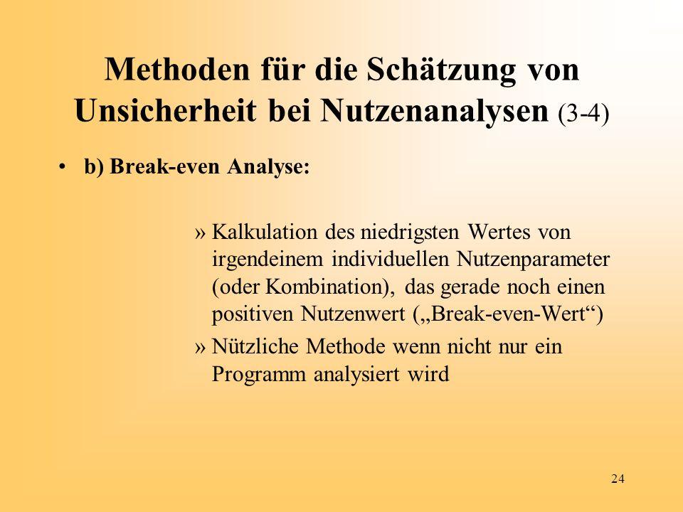 Methoden für die Schätzung von Unsicherheit bei Nutzenanalysen (3-4)