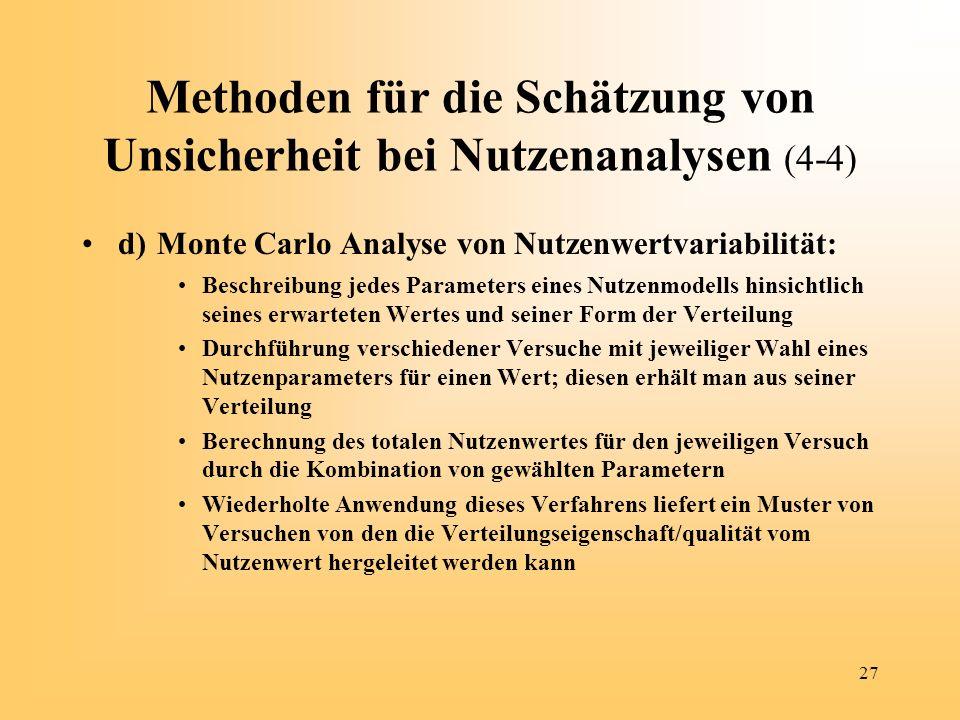 Methoden für die Schätzung von Unsicherheit bei Nutzenanalysen (4-4)