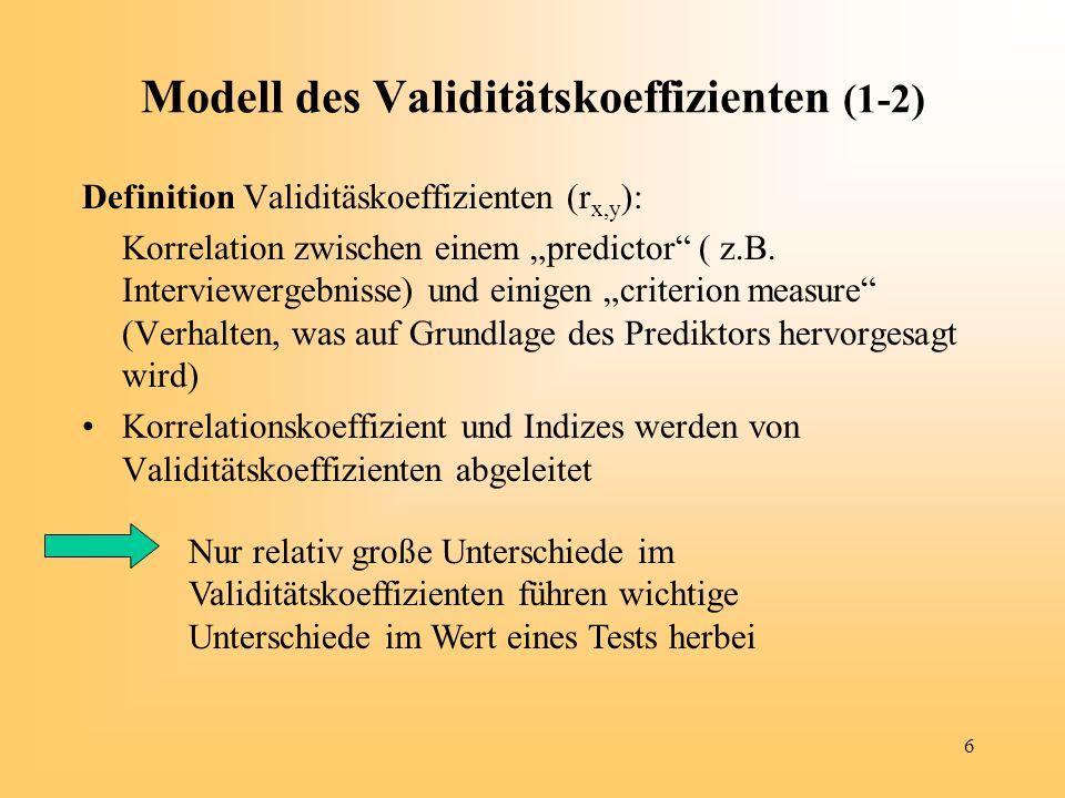 Modell des Validitätskoeffizienten (1-2)