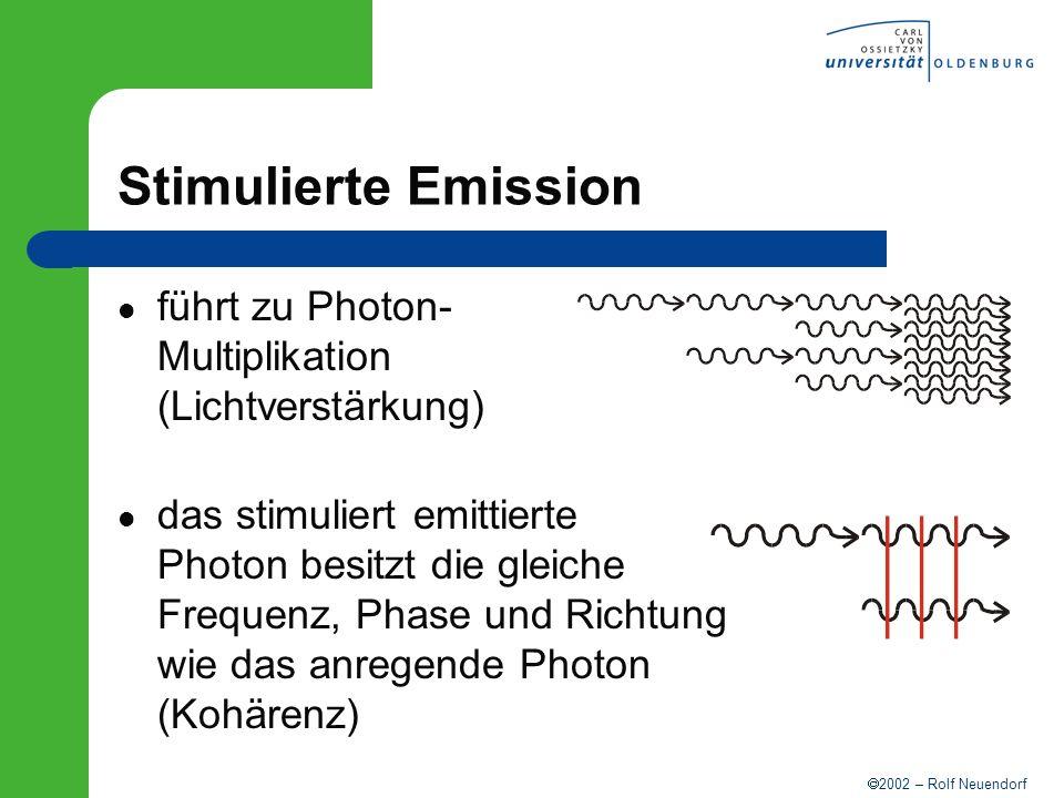 Stimulierte Emission führt zu Photon- Multiplikation (Lichtverstärkung)