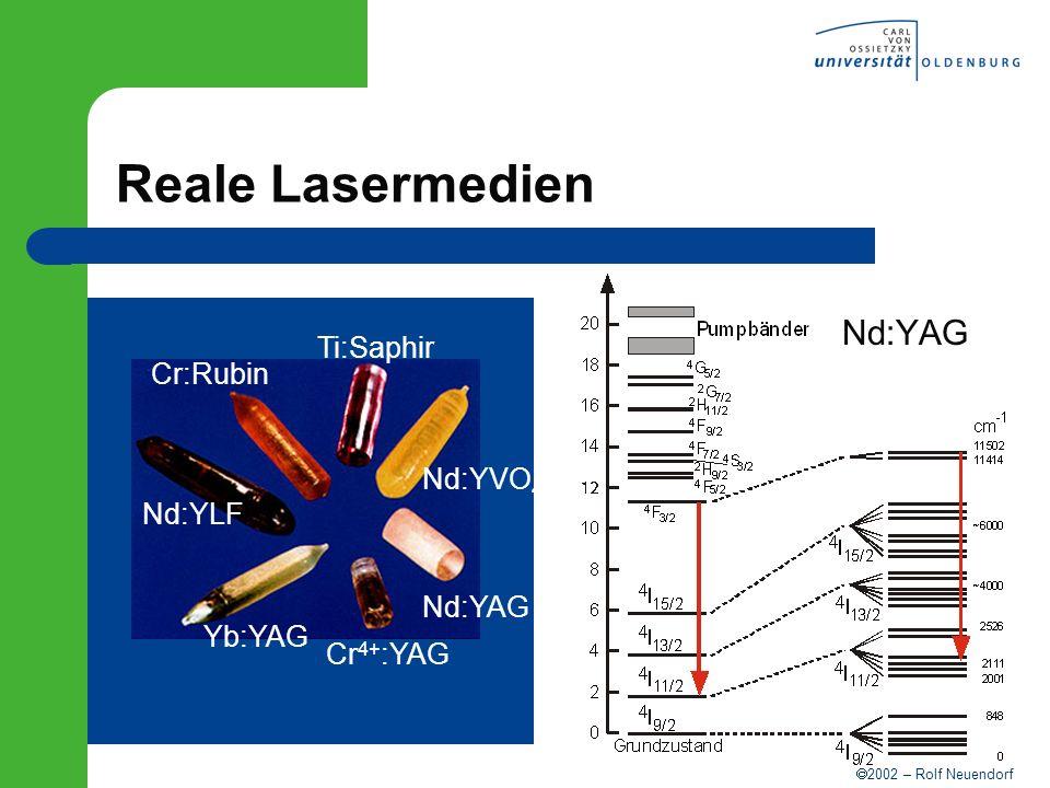 Reale Lasermedien Nd:YAG Ti:Saphir Cr:Rubin Nd:YVO4 Nd:YLF Nd:YAG