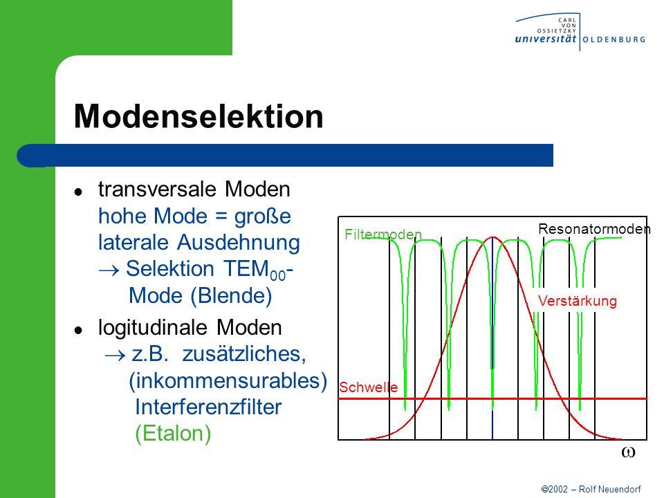 Modenselektion transversale Moden hohe Mode = große laterale Ausdehnung  Selektion TEM00- Mode (Blende)