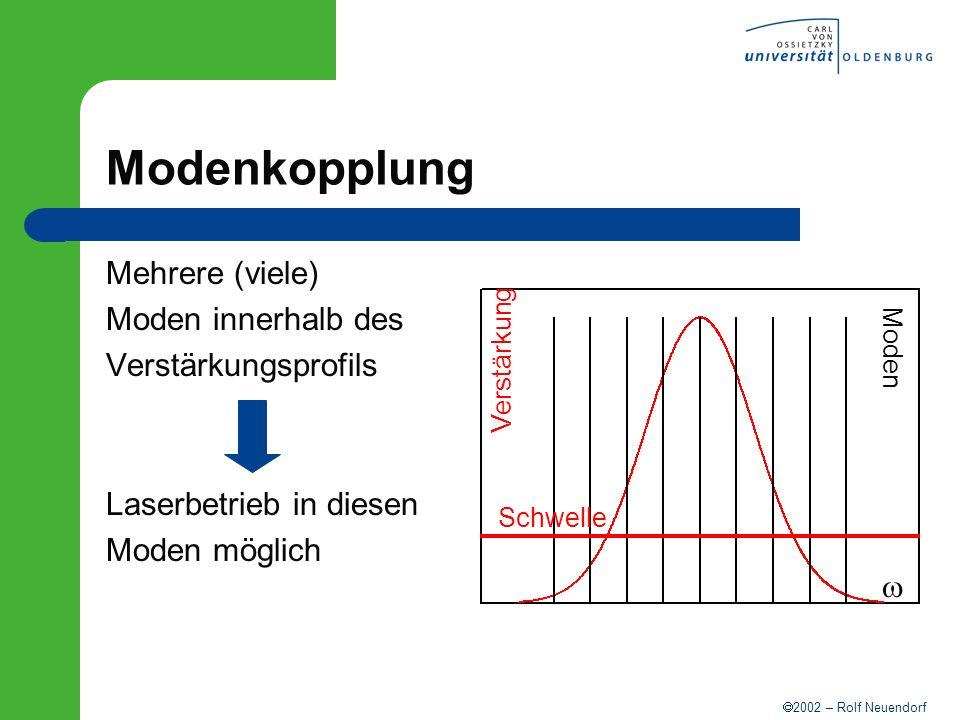 Modenkopplung Mehrere (viele) Moden innerhalb des Verstärkungsprofils