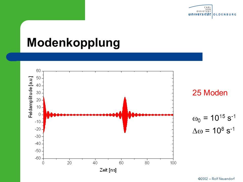 Modenkopplung 25 Moden w0 = 1015 s-1 Dw = 108 s-1