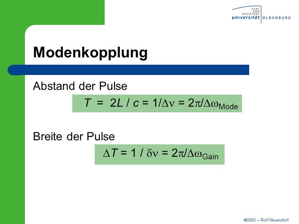 Modenkopplung Abstand der Pulse T = 2L / c = 1/Dn = 2p/DwMode
