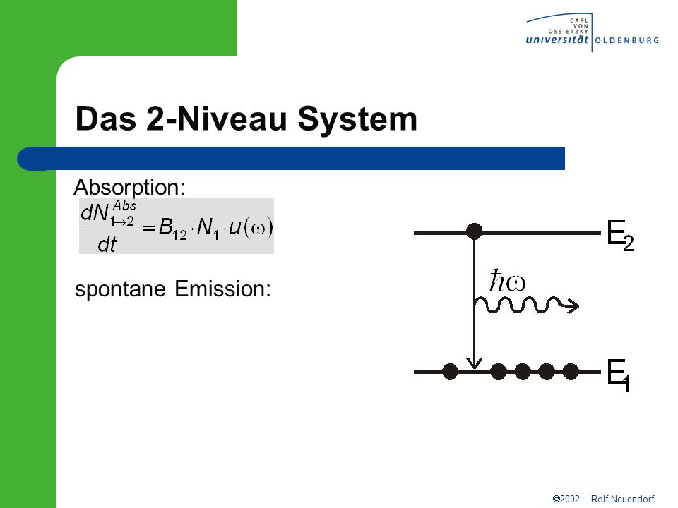Das 2-Niveau System Absorption: spontane Emission: