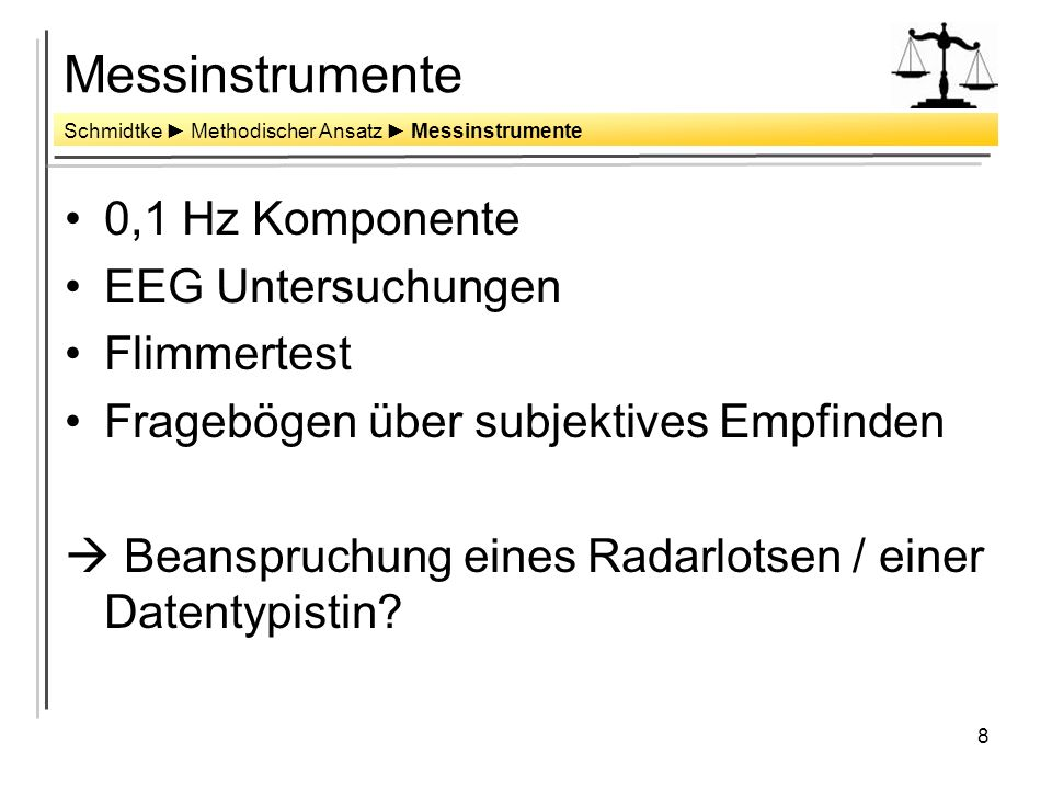 Messinstrumente 0,1 Hz Komponente EEG Untersuchungen Flimmertest