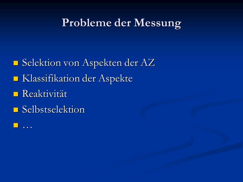 Probleme der Messung Selektion von Aspekten der AZ