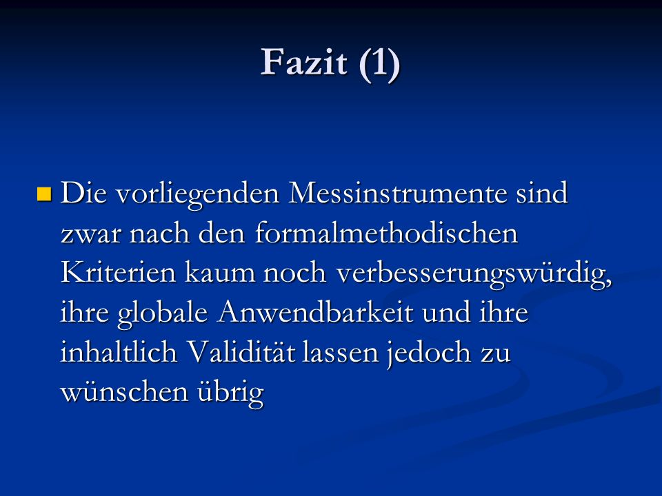 Fazit (1)
