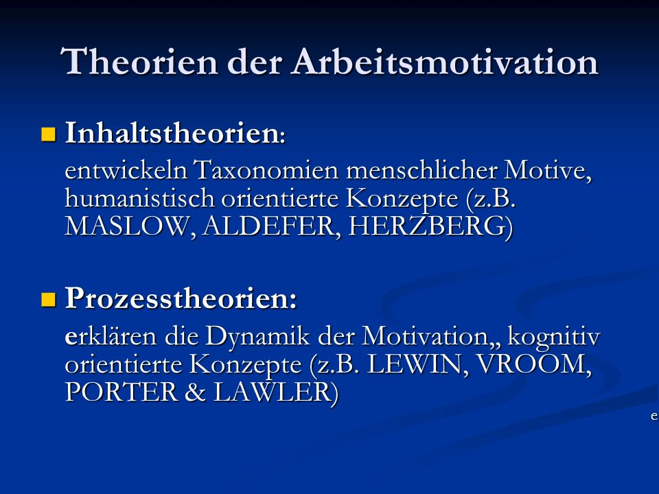 Theorien der Arbeitsmotivation