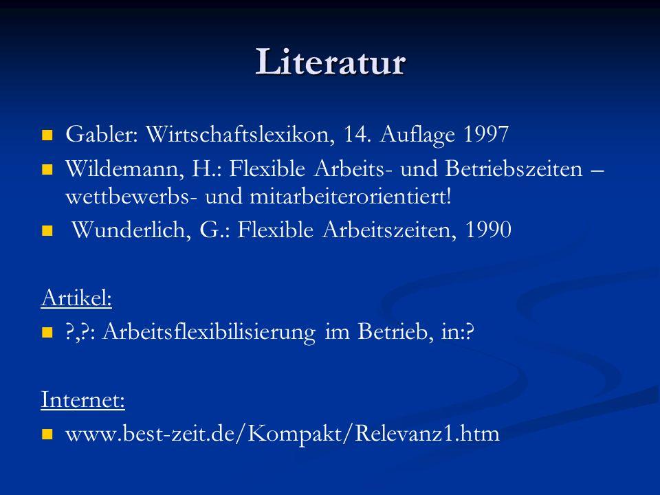 Literatur Gabler: Wirtschaftslexikon, 14. Auflage 1997