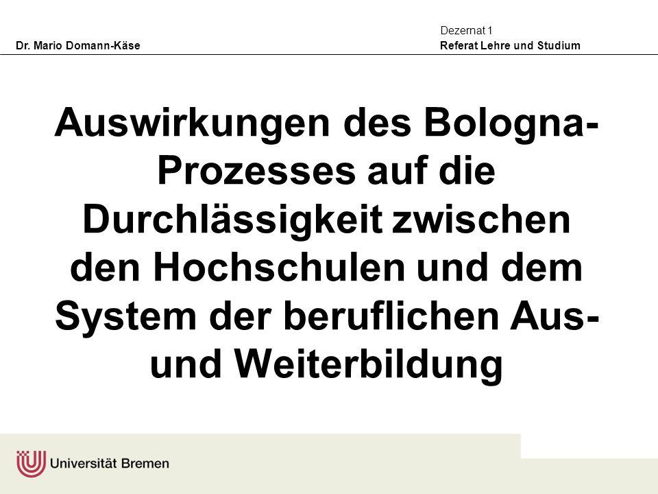 Auswirkungen des Bologna-Prozesses auf die Durchlässigkeit zwischen den Hochschulen und dem System der beruflichen Aus- und Weiterbildung