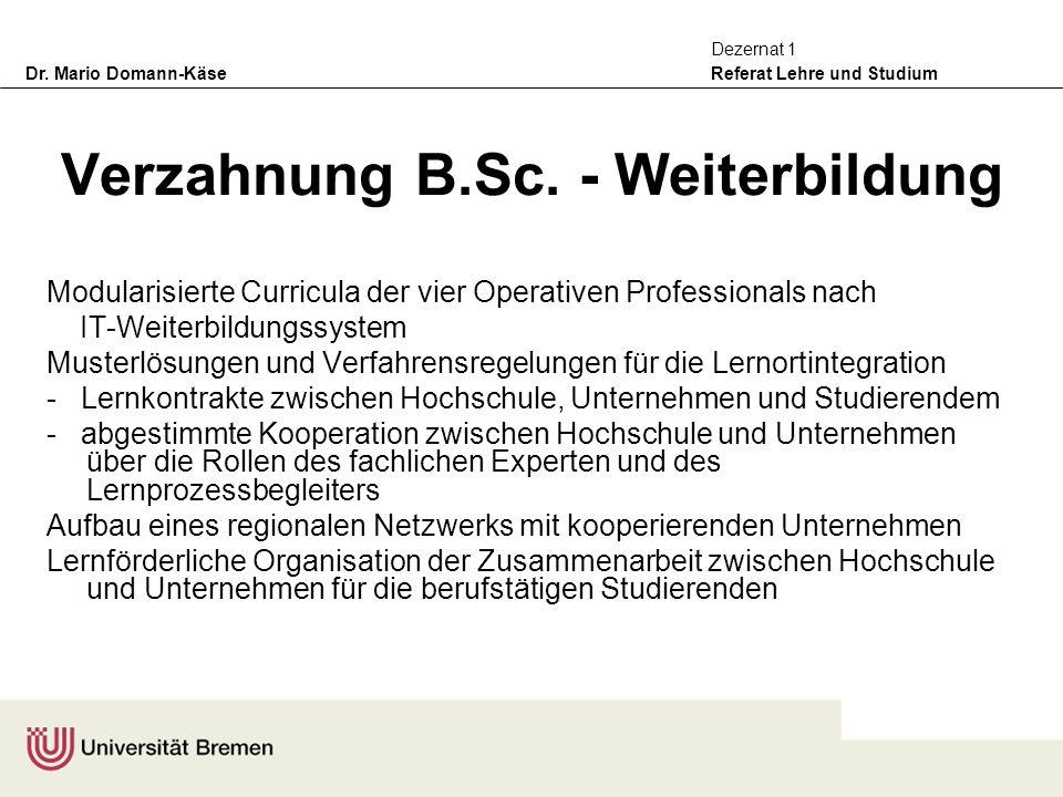 Verzahnung B.Sc. - Weiterbildung