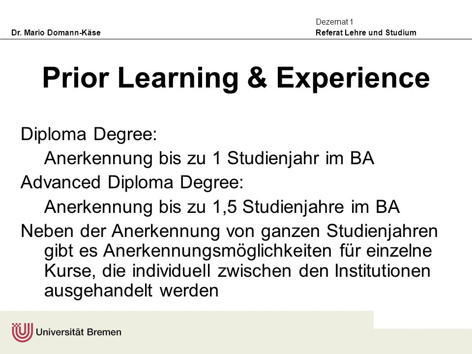 Prior Learning & Experience